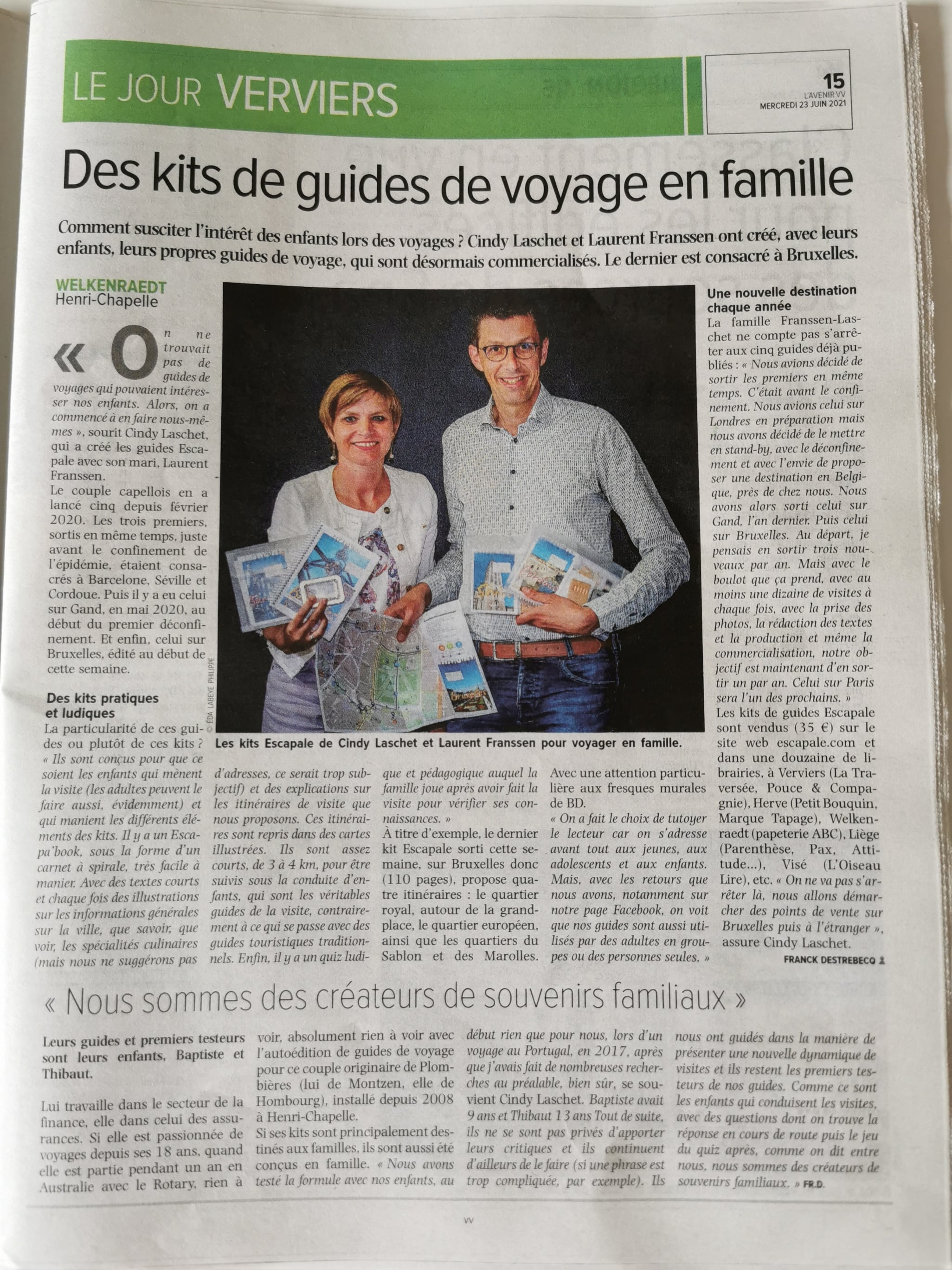 Article de presse L'Avenir 23/06/2021